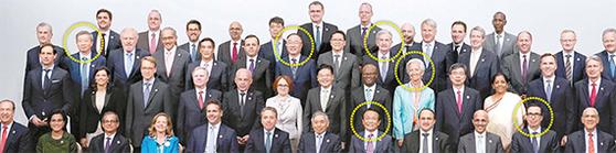 이강 중국 인민은행장, 홍남기 부총리 겸 기획재정부 장관, 아소 다로 일본 부총리 겸 재무상, 제롬 파월 미 FED 의장, 크리스틴 라가르드 IMF 총재, 스티븐 므누신 미 재무장관(동그라미 왼쪽부터)이 지난 9일(현지시간) 일본 후쿠오카에서 열린 주요20개국(G20) 재무장관·중앙은행 총재 회의에 참석한 뒤 기념촬영을 하고 있다. [EPA=연합뉴스]