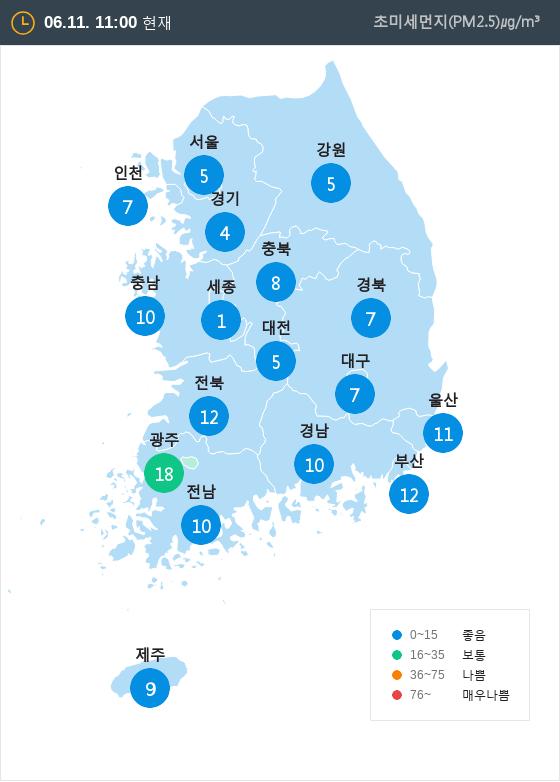 [6월 11일 PM2.5]  오전 11시 전국 초미세먼지 현황