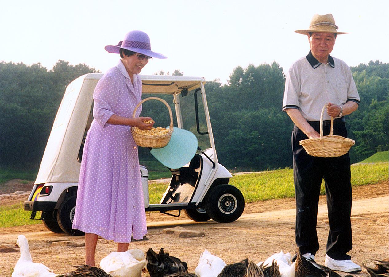 2001년 김대중 대통령과 부인 이희호여사가 청남대에서 오리떼에게 먹이를 주며 휴식을 취하고 있다.[중앙포토]