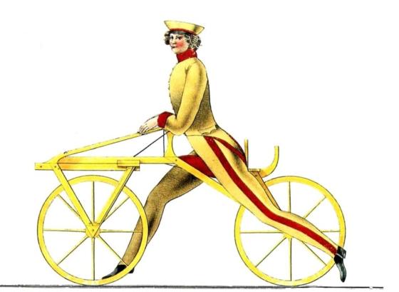 현대적 자전거의 효시인 '드라이지네' 개념도. [중앙포토]