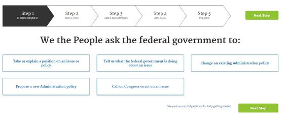 미국 백악관에서 운영하는 청원 게시판인 위더피플(WE THE PEOPLE)의 청원 1단계 화면. 행정부가 할 수 있는 일에 대해서만 청원을 받고 그 외 이슈는 '국회에 호소' 항목으로 분류한다. [사진 위더피플]