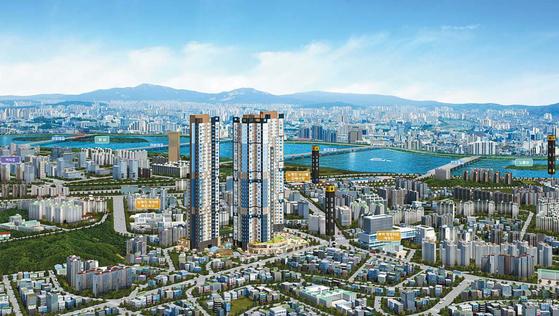 서리풀터널 개통 등 대형 개발호재로 부동산시장이 상승세를 보이고 있는 서울 동작구 노른자에 건립되는 장승배기역 스카이팰리스 조감도.
