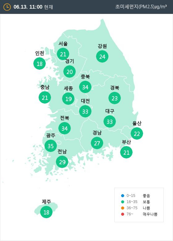[6월 13일 PM2.5]  오전 11시 전국 초미세먼지 현황