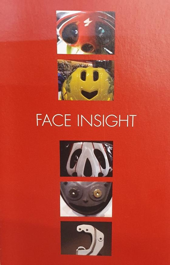 박 부사장이 처음 연 개인전 'FACE INSIGHT' 팸플릿 표지. 모두 자전거 용품 속 발견되는 얼굴 사진을 모은 것이다. [사진 박은서]