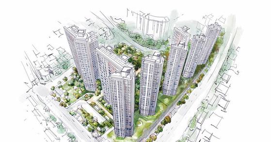 GS건설이 복합환승센터가 있는 동대구역 역세권에서 분양 예정인 신천센트럴자이 조감도.