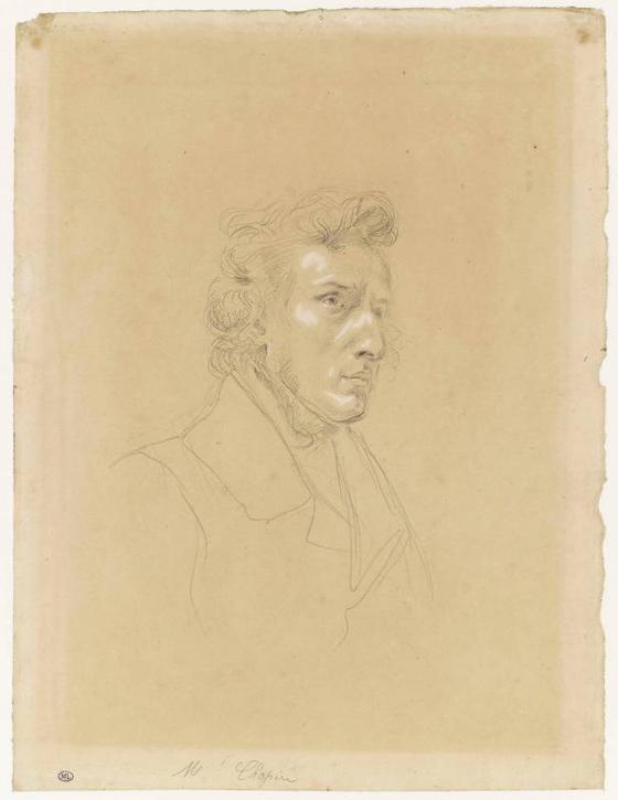 쇼팽. Eugene Delacroix 스케치, 1838, 루브르 박물관 소장. [출처 루브르 박물관]