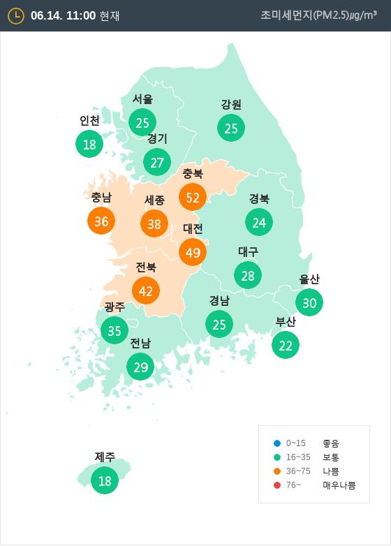 [6월 14일 PM2.5]  오전 11시 전국 초미세먼지 현황