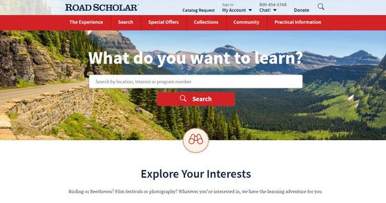 로드 스칼라 홈페이지(https://www.roadscholar.org). 로드 스칼라는 시니어 교육으로 사업을 시작해 세대통합형 여행 프로그램까지 내놓았다. [사진 로드 스칼라 홈페이지 캡처]
