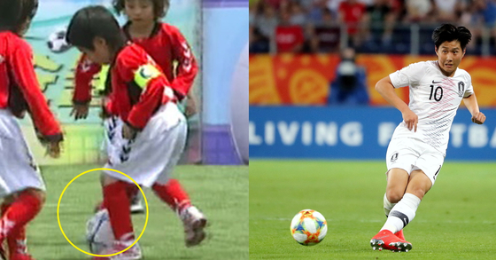 2007년 KBS 날아라슛돌이 시절 개인기 선보이는 이강인(왼쪽)과 2019 FIFA U-20 월드컵에서의 이강인. [KBS화면 캡처, 뉴스1]