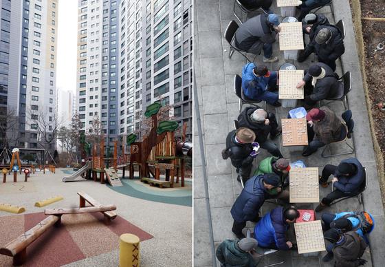 우리나라의 인구감소가 예상보다 빨리 시작할 것이라는 우려가 커지면서 인구 문제는 고용과 성장에도 악재로 여겨지고 있다. 일본은 이미 인력이 부족해 여성 고용, 시니어 고용 등 다방면으로 문제를 해결하고 있다. 사진은 서울의 한 텅 빈 놀이터(왼쪽)와 노인들로 붐비는 한 공원(오른쪽). [연합뉴스]