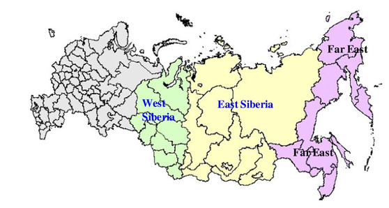 노란색으로 표시된 동시베리아 지역이 이번 연구 대상이 된 지역이다. 러시아 영토의 77%를 차지하지만 인구는 전체의 27%밖에 차지하지 않을 정도로 사람이 살기 적합하지 않은 지역이다. [그래픽제공=크라스노야르스크 연방연구센터]