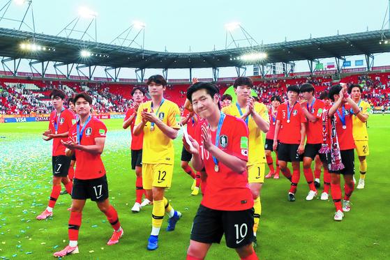 2019 국제축구연맹(FIFA) 20세 이하(U-20) 월드컵 결승 한국과 우크라이나의 경기에서 준우승을 차지한 한국 대표팀.[연합뉴스]