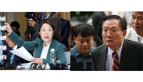 임수경 전 민주당 의원(왼쪽)과 박상은 전 새누리당 의원.