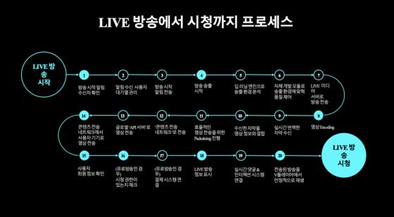 네이버 V LIVE는 20단계의 기술적 과정을 거쳐 시청자들에게 전달된다. [사진 네이버]
