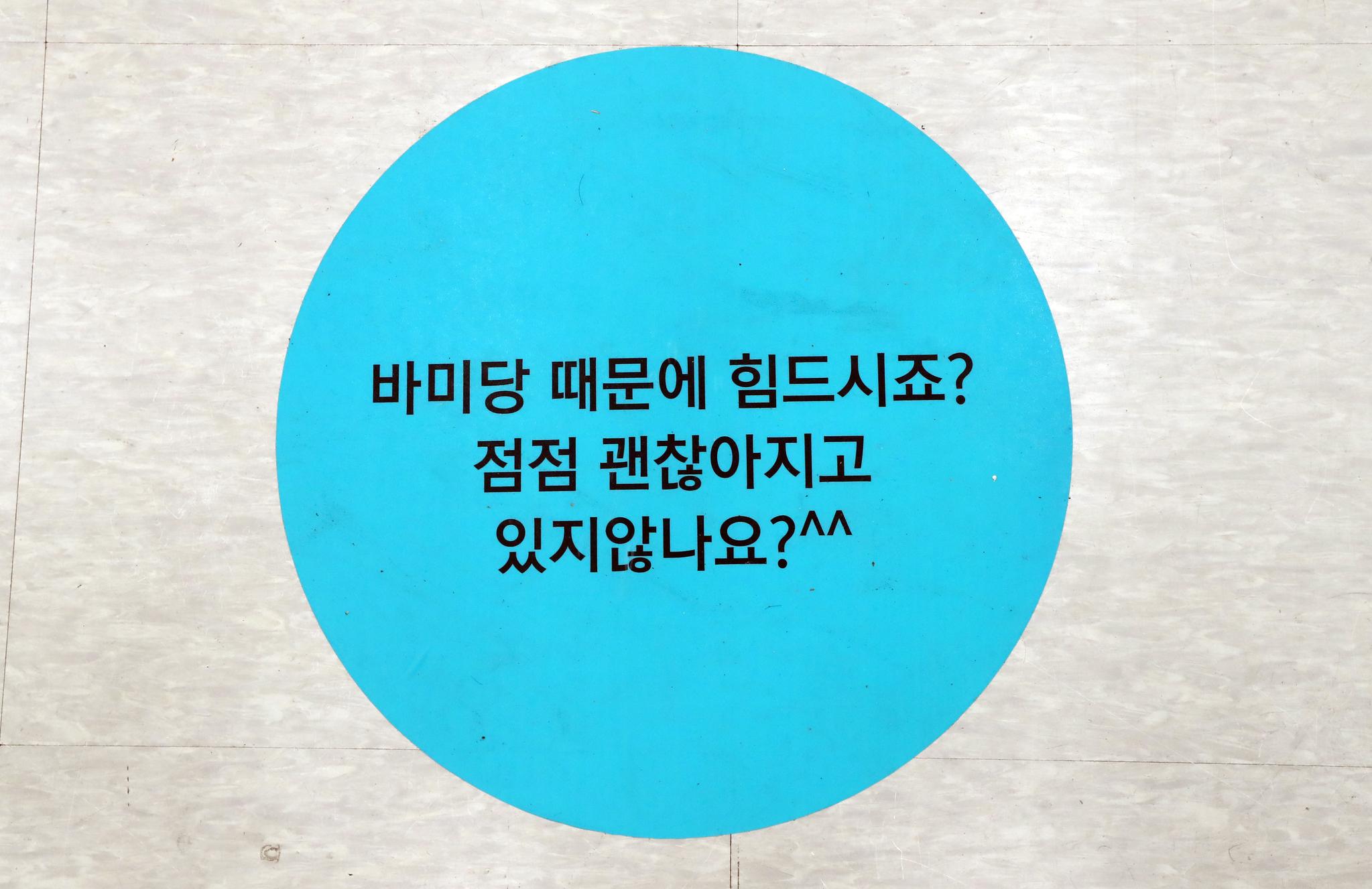 18일 카페로 변신한 바른미래당 원내대표 회의실 바닥 장식. 변선구 기자