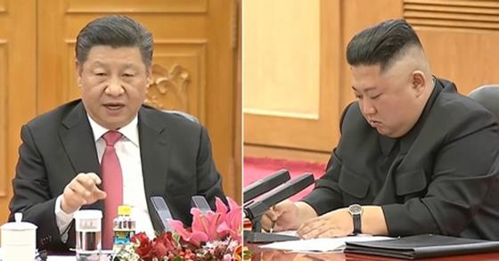 발언하는 시진핑, 받아적는 김정은 [중국중앙(CC)TV 화면 캡처=연합뉴스]