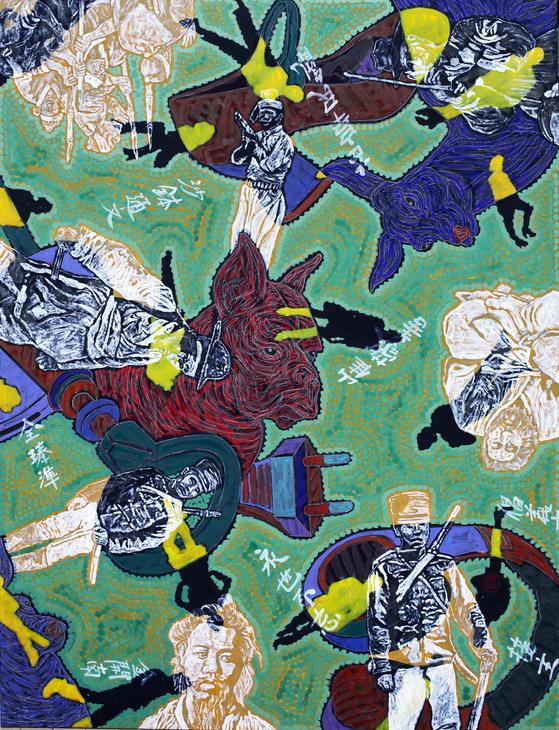 '유목동물+인간-문명2016-28(동학혁명이야기),146x112cm,한지에 수묵채색 및 아크릴, [사진 통인화랑]