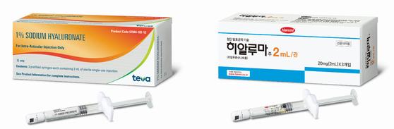 미국(왼쪽)과 한국(오른쪽)에서 판매되는 한미약품의 히알루마 패키지 [사진 한미약품]
