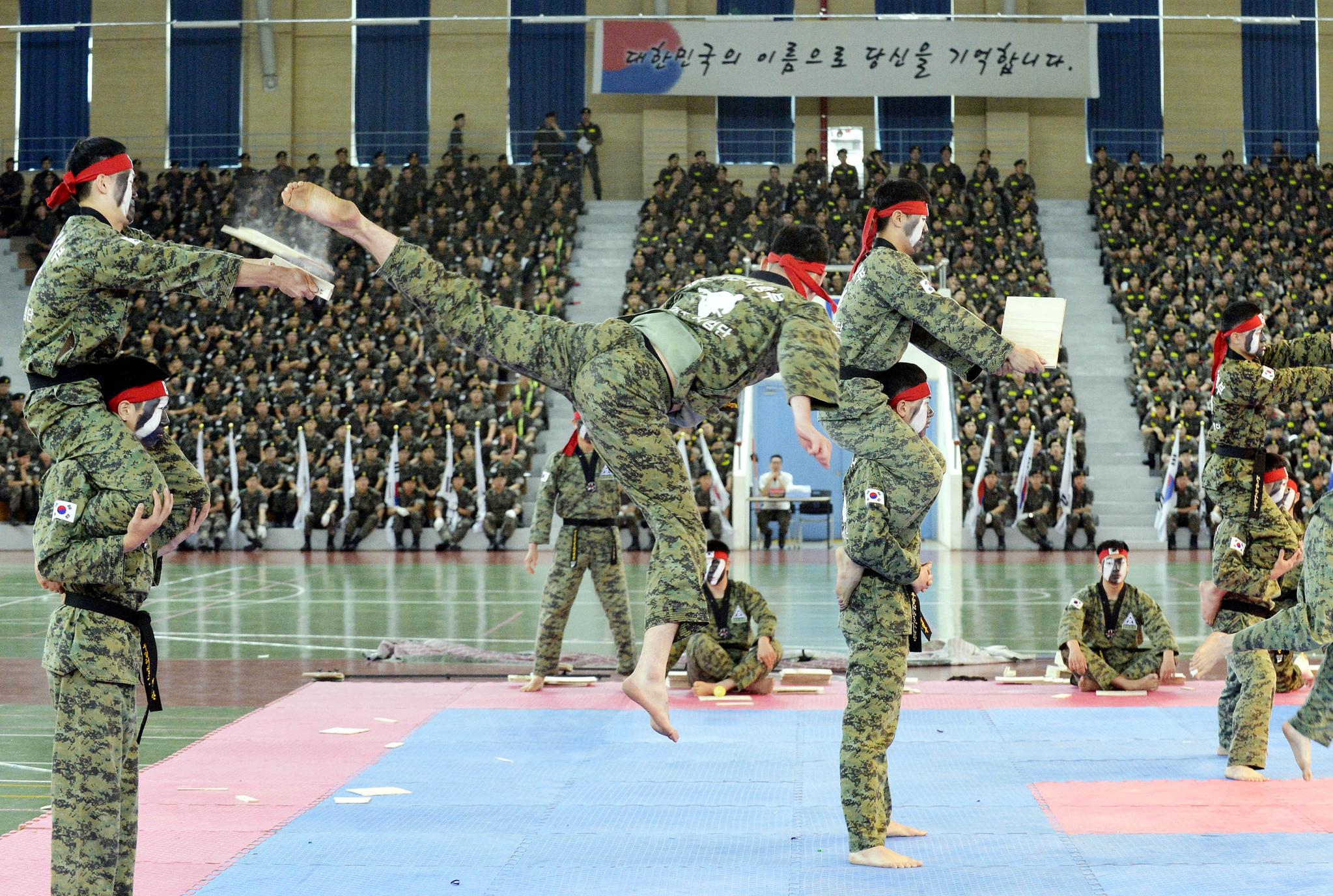 19일 충남 논산 육군훈련소에서 6.25참전용사를 비롯한 보훈단체 초청 행사가 열렸다. 이날 행사에는 특공무술과 태권도 시범이 선보였다. 프리랜서 김성태