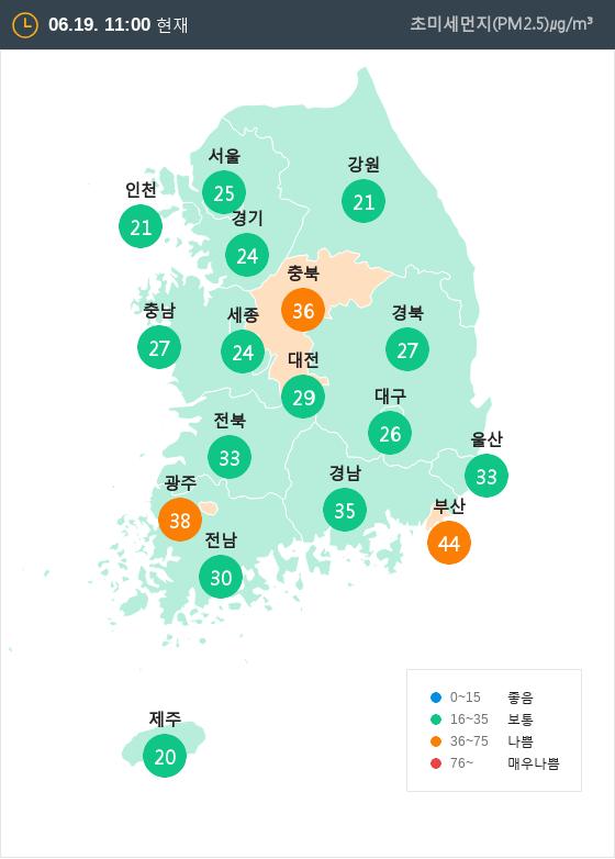 [6월 19일 PM2.5]  오전 11시 전국 초미세먼지 현황
