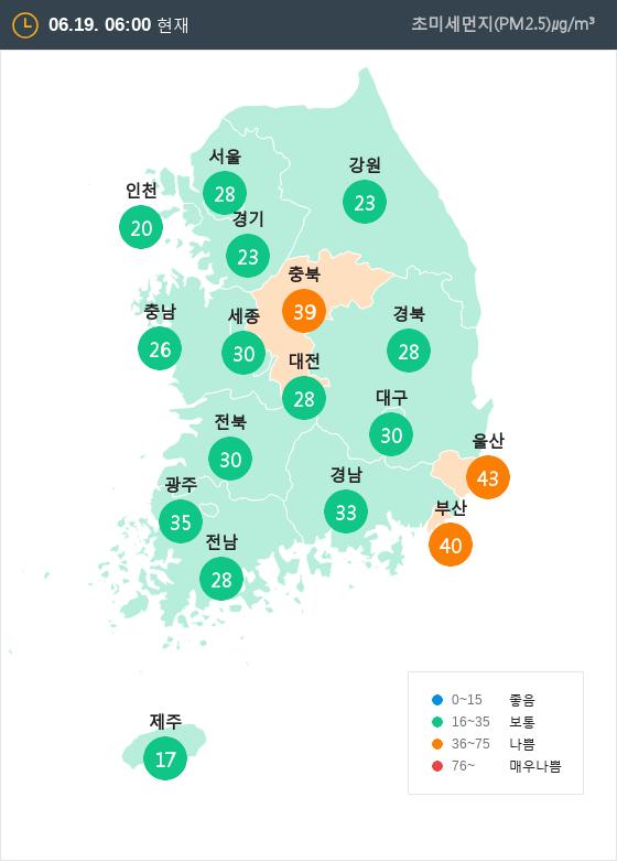 [6월 19일 PM2.5]  오전 6시 전국 초미세먼지 현황