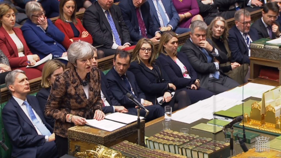1월 22일 메이 전 영국 총리가 브렉시트와 관련해 의원들에게 설명하고 있다. [중앙포토]