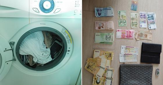 김씨 등이 합숙한 오피스텔 세탁기에는 이들이 사이트 운영에 사용한 대포폰이 숨겨져 있었다. 경찰은 오피스텔에서 발견한 현금과 대포폰 등을 압수했다. [마포경찰서 제공]