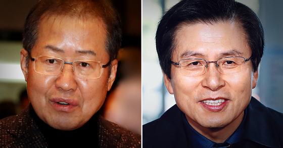 홍준표 전 자유한국당 대표(왼쪽)와 황교안 자유한국당 대표. [중앙포토·연합뉴스]