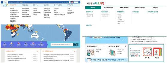 왼쪽부터 외교부의 '해외안전여행', 한국관광공사의 '지구촌 스마트여행' 웹사이트.