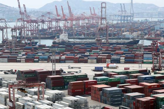 지난 1일 부산 남구 부산항 신선대부두에 수출입 컨테이너 화물이 쌓여 있는 모습. [연합뉴스]