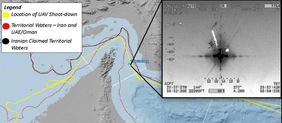 미 국방부는 20일(현지시간) 이란 혁명수비대에 격추된 RQ-4 글로벌호크 무인 정찰기가 이란 영공을 침범하지 않았다고 주장했다. 사진은 미 국방부가 공개한 격추 장면과 비행 궤적. [사진 미 국방부]