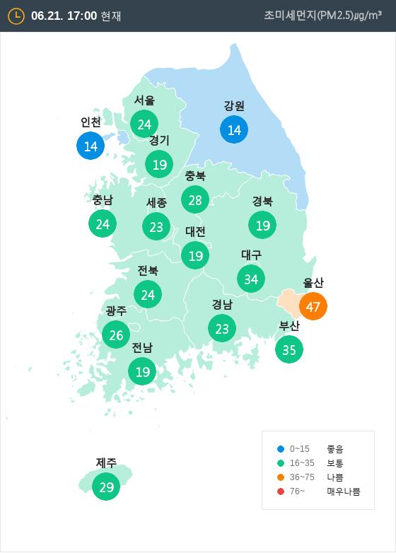 [6월 21일 PM2.5]  오후 5시 전국 초미세먼지 현황