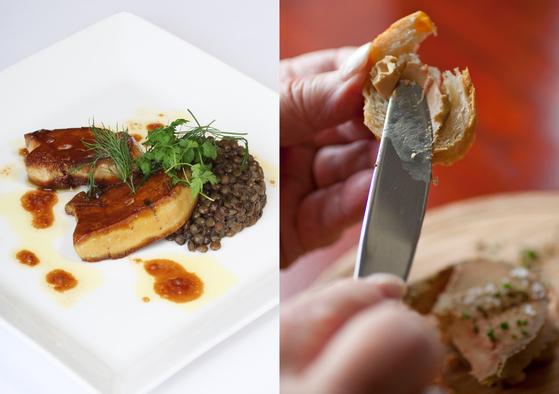 푸아그라를 요리하는 방식은 매우 다양하다. 양념하여 통째로 익히기도 하고, 곱게 갈거나 다른 고기를 섞어 크래커 등에 발라먹을 수 있도록 만들기도 한다. [중앙포토, AP=연합뉴스]