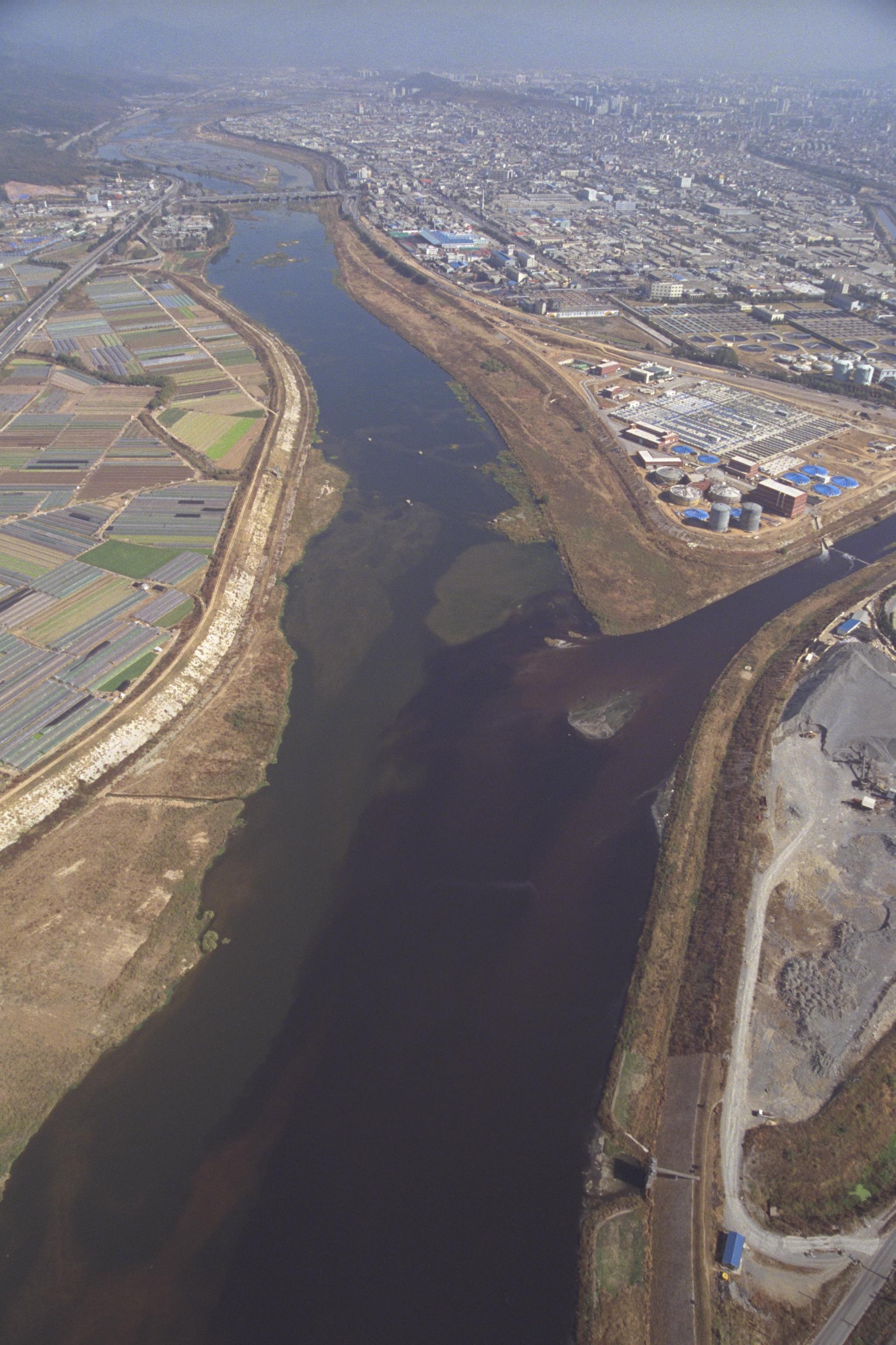 1990년대 낙동강의 모습. 대구 염색공단에서 폐수가 흘러나오고 있다. [중앙포토]