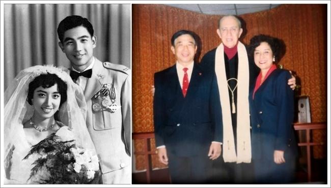장리이와 장자치 부부가 1956년 결혼 당시 모습(왼쪽 사진). 장리이가 대만으로 귀환한 이듬해인 1991년 두 사람은 미국에서 다시 결혼식을 올렸다(오른쪽 사진). [영화 '질풍유령 흑묘중대' 캡처]