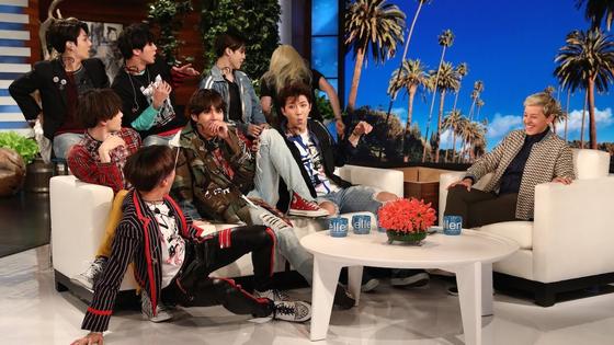 미국 유명 예능 '엘렌 쇼'에 출연한 BTS. [엘렌 쇼 유튜브 캡처 ]