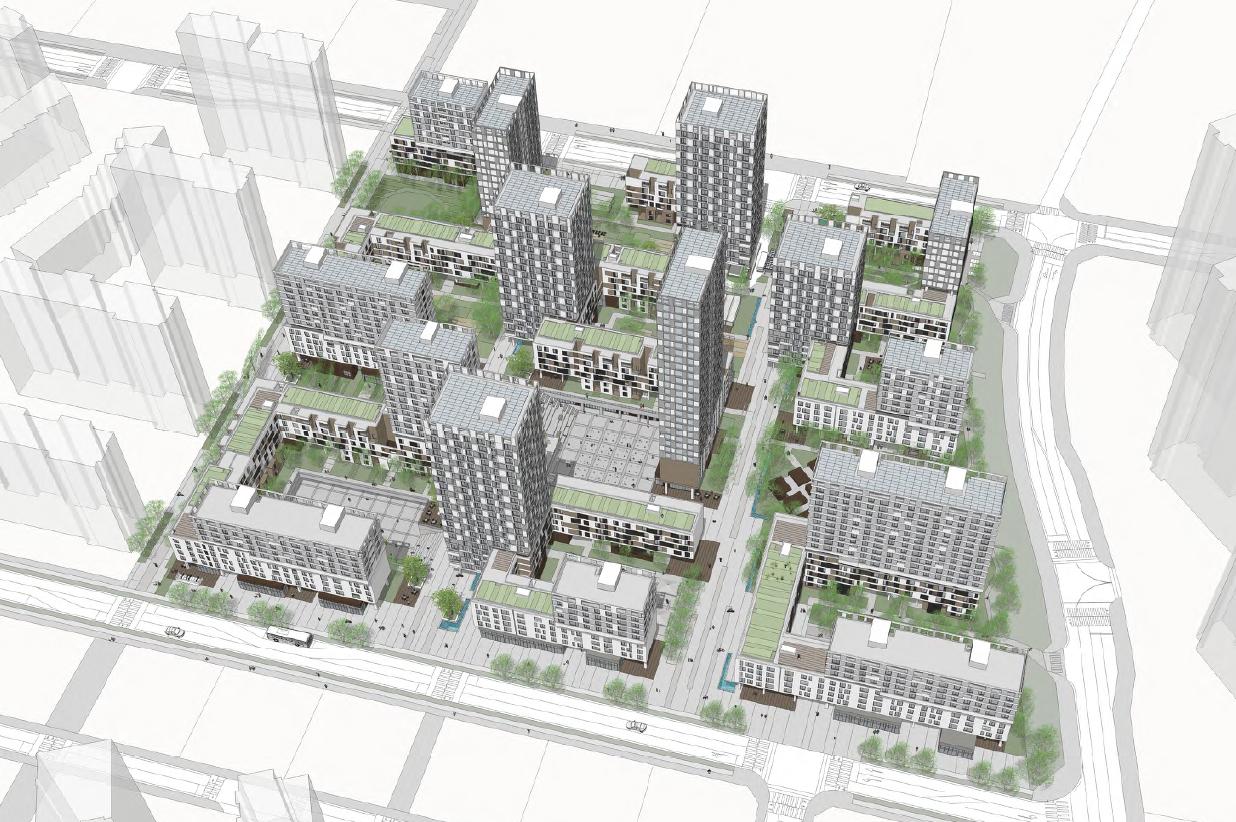 6층 규모의 저층부와 최고 29층, 4가지 타입의 고층부를 혼합해 용적률을 채운 '공동의 거실'의 모습. [사진 EMA건축사사무소]