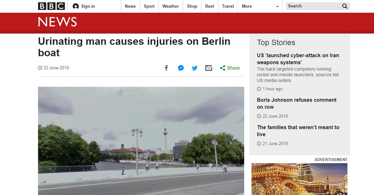 한 남성의 독일 베를린 다리 위 '오줌 공격'으로 4명이 부상을 당했다. [사진 BBC 홈페이지 캡처]