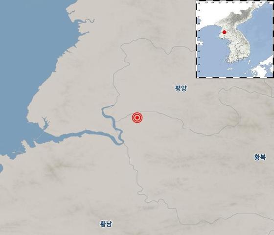 22~23일 북한의 지진 발생지점. 황해북도 송림에서 북동쪽으로 10km 떨어진 지점이다. [자료 기상청]