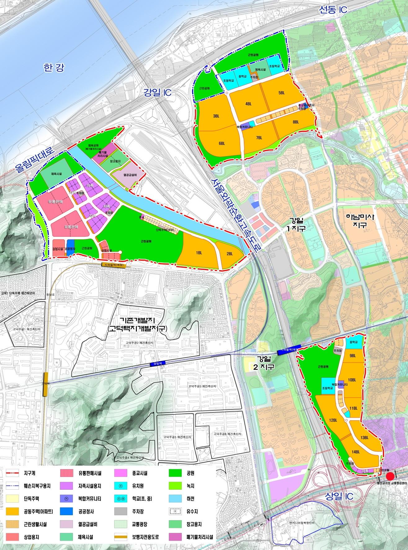 고덕강일지구의 모습. 3개 지구 총 14개 블록 규모로, 1만1560가구의 공동주택이 들어설 예정이다. 이 중 1블록과 5블록의 설계공모전이 열렸다. [사진 SH공사]
