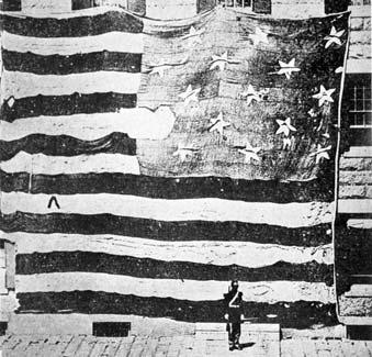 1814년 9월 13일 미국 볼티모어 체사피크 만에서 영국 함대 공격을 막아낸 매킨리요새의 성조기. 미국 국가 '별이 빛나는 깃발'의 소재가 됐다. [사진 위키피디아]