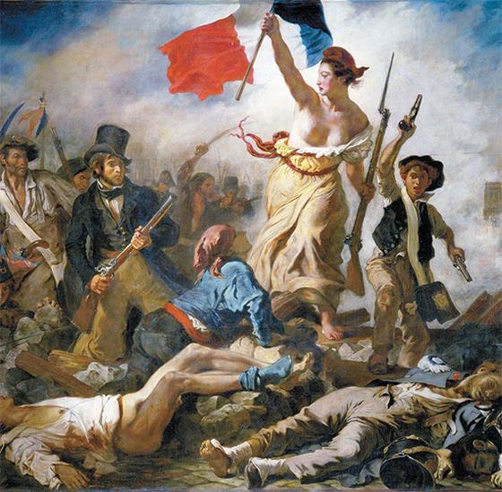 1792년 프랑스 혁명 당시 마르세이유 시민군이 국기를 들고 진군가인 '라 마르세예즈'를 부르며 파리에 진격했다. 그림은 혁명 이후 1830년 7월 왕정 복고에 반대하며 봉기한 시민군의 모습을 그린 들라크루아의 '민중을 이끄는 자유의 여신' [사진 위키피디아]