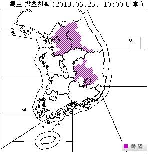 25일 오전 10시 기준 폭염주의보 발효 구역. [자료 기상청]
