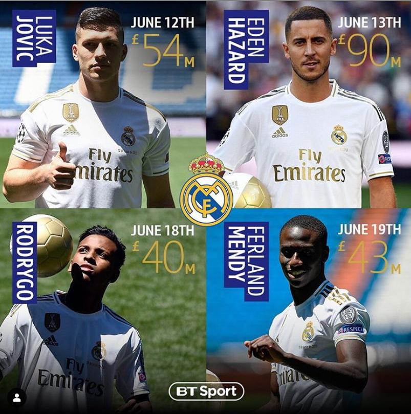 레알 마드리드는 지난 12일부터 일주일간 아자르, 멘디, 호드리구, 요비치(오른쪽 위부터 시계방향) 영입을 위해 3348억원을 쏟아부었다. [BT스포츠 인스타그램]