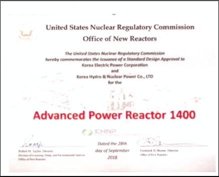 미국 원자력안전규제 위원회(NRC)가 한국형 표준원전인 APR-1400 설계에 대해 발부한 설계안전인증서(DC). 한국 원전의 안전성을 미국이 확인했다는 증서다. 프랑스와 일본도 받지 못한 DC를 확보하면서 한국은 원전 강국으로 자리 잡았다. NRC는 2018년 9월 28일 DC 심사 통과 사실을 알려왔다. [사진 정근모 박사]