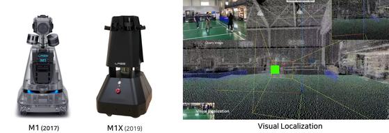 (왼쪽) 네이버랩스의 매핑로봇 M1과 2019년형 M1X. (오른쪽) 매핑로봇으로 촬영한 3D 데이터에서 특징점을 추출해 위치를 계산하는 VL 기술. [사진 네이버]