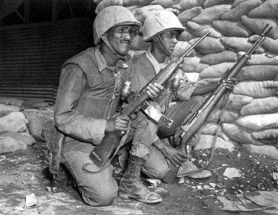 1953년 미 제7사단에 배속되어 활동 중인 에티오피아군. 흔히 강뉴 부대라고 불린다. [사진 wikipedia]