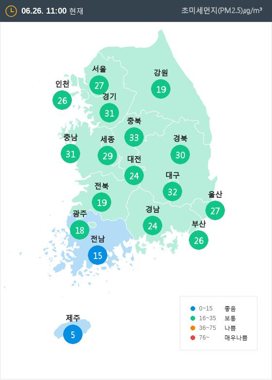 [6월 26일 PM2.5]  오전 11시 전국 초미세먼지 현황