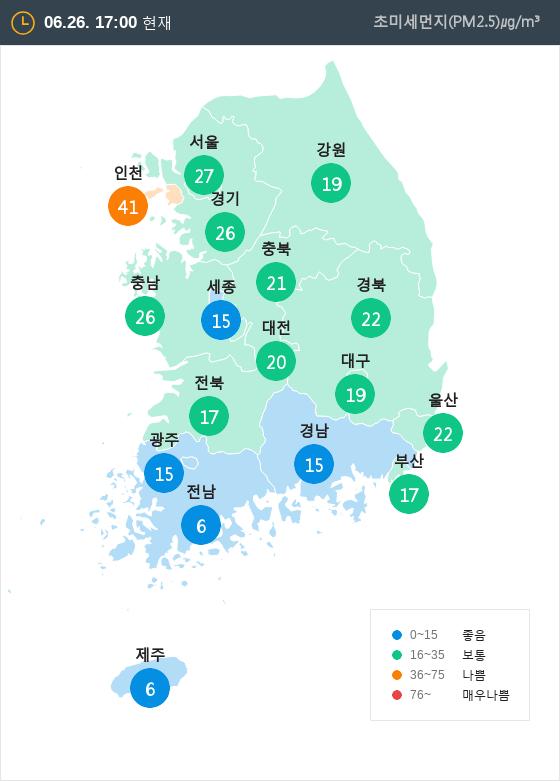 [6월 26일 PM2.5]  오후 5시 전국 초미세먼지 현황
