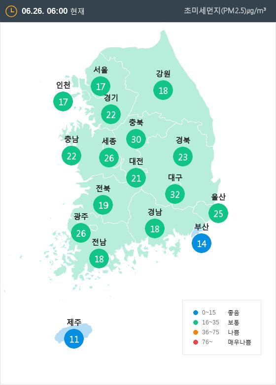 [6월 26일 PM2.5]  오전 6시 전국 초미세먼지 현황